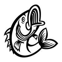 Ícone de vetor de peixe Bass pulando