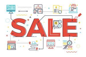 Palavra venda, lettering, ilustração