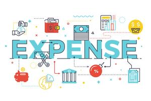 Ilustração de rotulação de palavra de despesa