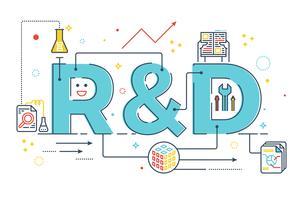 P & D: pesquisa e desenvolvimento palavra lettering