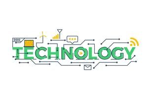 ilustração de tecnologia palavra vetor