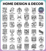 Ícones de design e decoração para casa vetor