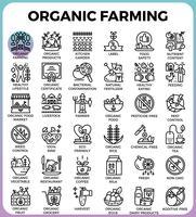 Ícones de linha detalhada de conceito de agricultura biológica vetor