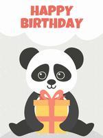 Panda bonito de feliz aniversario vetor