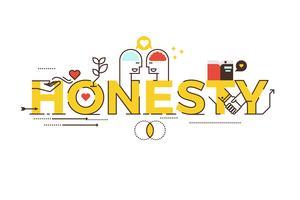Letras de palavra de honestidade vetor