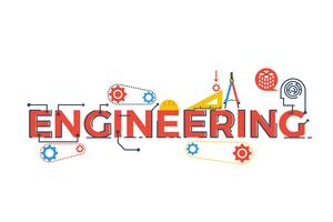 Ilustração de palavra de engenharia vetor