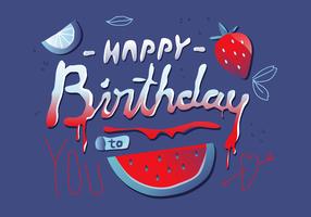 Doce Feliz Aniversário Lettering Tipografia Vector
