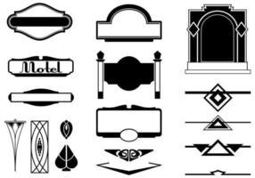 Vetores do sinal do art deco e pacote do vetor do ornamento