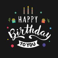 Tipografia de feliz aniversário para cartão vetor