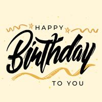 Feliz aniversário moderno escova letras caligrafia cartão vetor