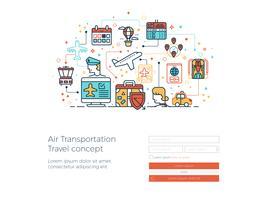 Conceito de viagens de transporte aéreo