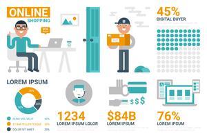 Infográfico de compras on-line vetor