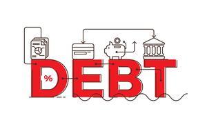 Design de tipografia de palavra de dívida