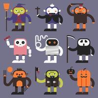 Personagens do dia das bruxas vetor