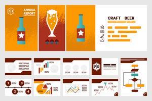 capa de relatório anual da empresa de cervejas artesanais folha A4 e modelo de apresentação vetor