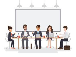 Empresários e empresárias reunião vetor