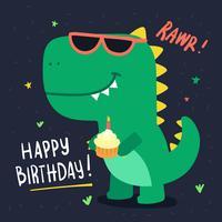 Cartão de aniversário bonito do dinossauro vetor