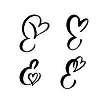 Grupo do vetor de monograma floral E do E. da letra do vintage. Flourish do Valentim do elemento da caligrafia. Entregue o sinal tirado do coração para a decoração da página e projete a ilustração. Cartão de casamento amor para convite