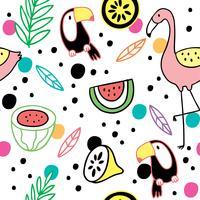 Vetor bonito do Hornbill e do flamingo do verão dos desenhos animados.