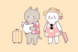 Vetor bonito do curso dos gatos do verão dos desenhos animados.