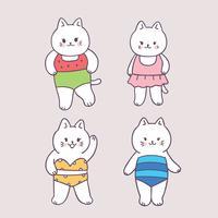 Vetor bonito do gato do terno de natação do verão dos desenhos animados.