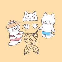 Gatos bonitos do verão dos desenhos animados no vetor da praia.