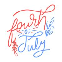 Lettering bonito sobre quatro de julho vetor