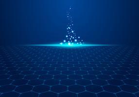 O teste padrão azul abstrato do hexágono da tecnologia no fundo com luz explode partículas.