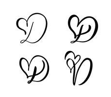 Grupo do vetor de flourish floral do Valentim do elemento da caligrafia do monograma D. da letra do vintage. Entregue o sinal tirado do coração para a decoração da página e projete a ilustração. Cartão de casamento amor para convite