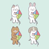 Animais de verão bonito dos desenhos animados e vetor de kite