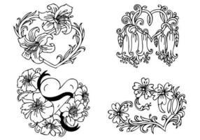 Pacote de vetores de coração floral