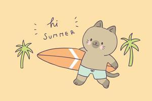 Gato bonito do verão dos desenhos animados e vetor surfando.