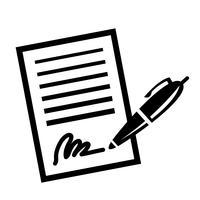 Paper Business Contract Pen Ícone de vetor de assinatura