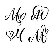Grupo do vetor de flourish floral do Valentim do elemento da caligrafia do monograma M. da letra do vintage. Entregue o sinal tirado do coração para a decoração da página e projete a ilustração. Cartão de casamento amor para convite