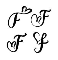 Grupo do vetor de flourish floral do Valentim do elemento da caligrafia do monograma F. da letra do vintage. Entregue o sinal tirado do coração para a decoração da página e projete a ilustração. Cartão de casamento amor para convite