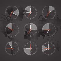 Imagem de um relógio em um mapa de fundo do mundo com tons escuros de continentes vetor