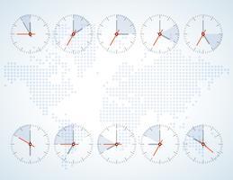 Imagem de um relógio de parede em um mapa de fundo vetor