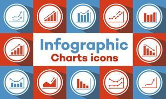 ícones de gráficos e gráficos