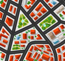 Planeje para a cidade grande com ruas, telhados, carros