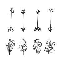 Doodle Setas E Folhas De Colecção vetor
