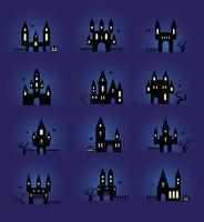 Conjunto de silhuetas de Halloween