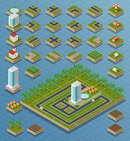 Conjunto de cidade isométrica vetor