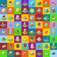 conjunto de casa isométrica de ícones