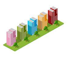 Casas isométricas, casas de cidade, vetor