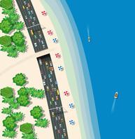 Transporte rodoviário urbano de vista superior