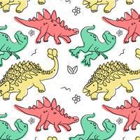 Padrão de dinossauro bonito colorido vetor