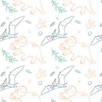 Padrão de dinossauro de mão desenhada vetor