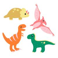 Conjunto de coleta de dinossauro bonito mão desenhada vetor