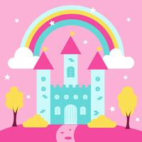Princesa fofa castelo com arco-íris e paisagem vetor