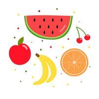 Conjunto de coleta de frutas tropicais de vetor